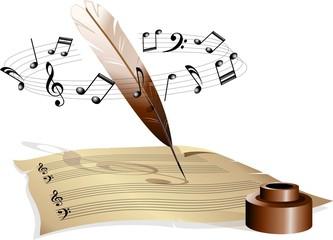 Musica Foglio con Pentagramma-Music and Music Sheet