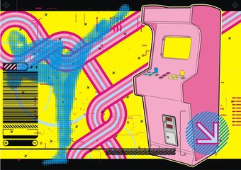 Ninja beat-em-up fighting arcade in yellow & pink.