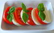 Caprese Salad with Fresh Basil Horizontal on White
