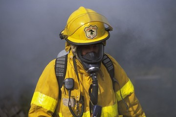 Fireman In Front Of Smoke