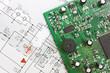 Leinwanddruck Bild - schematic diagram  and electronic board
