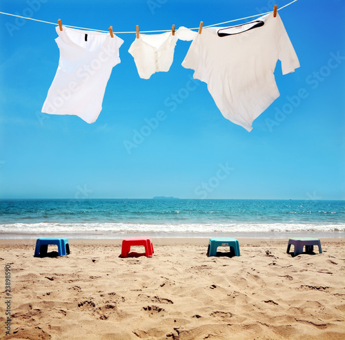 Clothes hanging on the clothesline,at the seaside