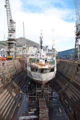 Boat at dry dock for repairs