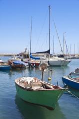 Boats moored in Giovinazzo port. Apulia.