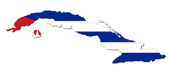 Cuba map flag with shadow on white illustration