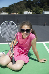 Tennis girl in sunshades