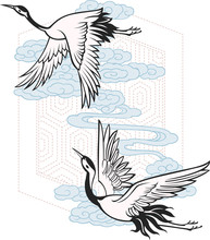two flying crane poster