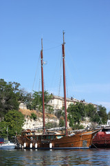 wooden yacht, the Black Sea, Crimea, Ukraine, 21 June 2010