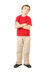 little boy in red shirt crossed hands standing on white