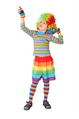 little boy in clown dress pointing at side isolated on white