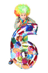 boy in clown dress with balloon shape six isolated on white