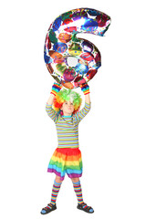 boy in clown dress with balloon shape six over his head isolated