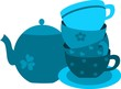 blue tea pot and four cups on plate-2