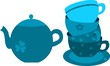 blue tea pot and four cups on plate