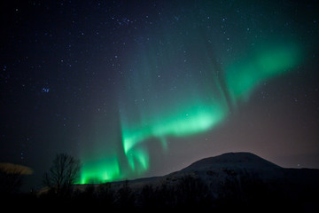 Aurora Borealis curtains rippling in the sky