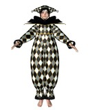 Pierrot Clown Doll - Harlequin checks poster