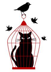 cat in birdcage, vector