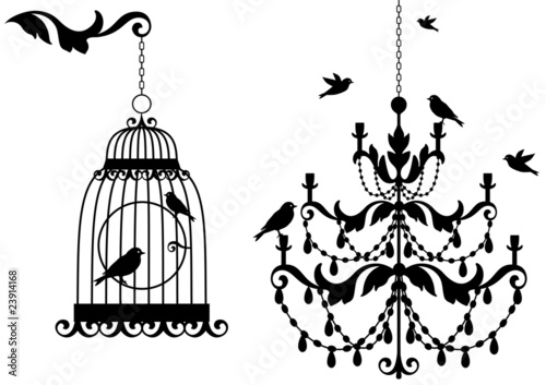 antique birdcage and chandelier with birds, vector