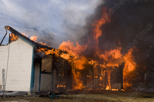 house consumed by fire