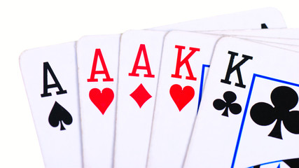 Full house of aces and kings isolated