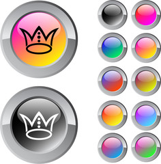 Crown multicolor round button.