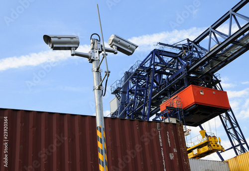 observation camera at container harbour