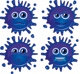 Set of blue vector blots characters with faces. Part 2.