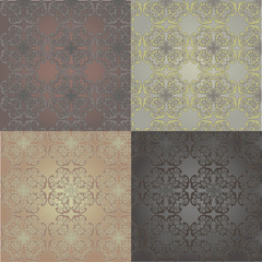 Seamless backgrounds set with vintage decorative patterns.