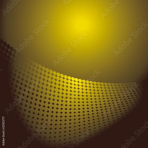 Yellow abstract retro background with dots, vector