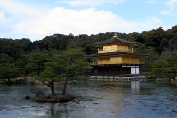 Kinkakuji, Golden Pavilion temple and pond in Kyoto