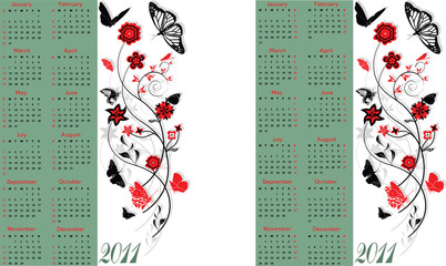 Calendar 2011. Starts both Sunday and Monday