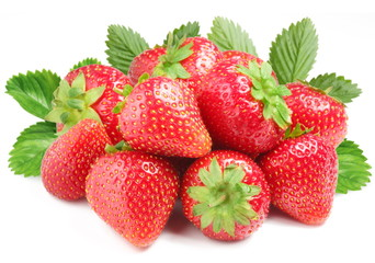 Group of appetizing strawberries with leaves on back.