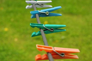 cloth pegs with a green background