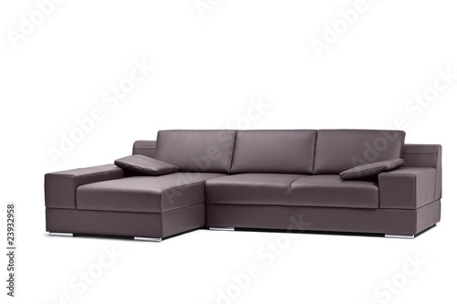 A view of a black leathered sofa isolated on white