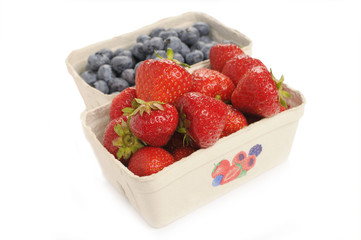 Strawberries and blueberries fresh from the market