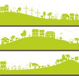 ville et nature verte avec homme, femme et enfant