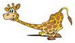 Giraffe liegt lächelnd