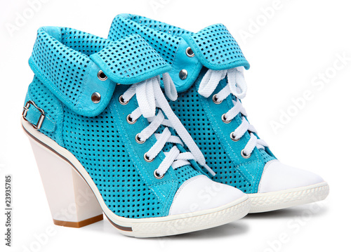 Pair of high-heeled turquoise female shoes - 23935785