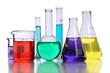 Laboratory Glassware With Liquids