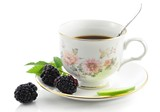 cup of tea and blackberry