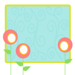 Cute Round Flowers Template Background with Swirls