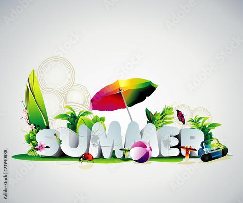 summer 3d text vector