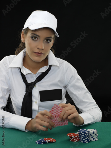 Poker girl with copy space