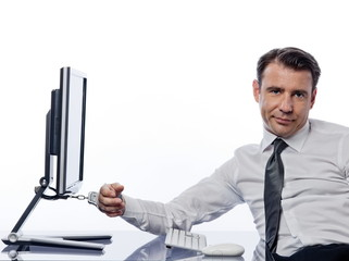 Man chained to computer with handcuffs