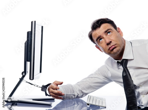 Man chained to computer with handcuffs bored