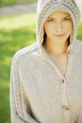 Woman Wearing A Knit Hood
