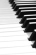 Piano keys extreme closeup with shallow depth of field