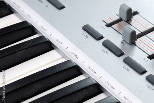 Closeup of a MIDI controller keyboard