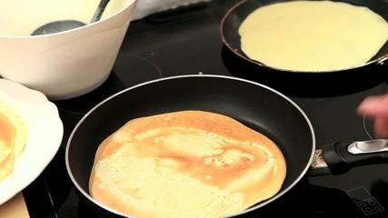 Baking pancakes closeup