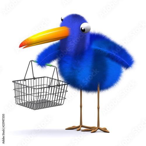 3d Blue bird shopping